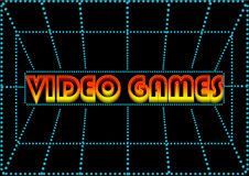 Video game. Glowing sign on the screen Royalty Free Stock Photography