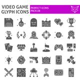 Video game glyph icon set, play symbols collection, vector sketches, logo illustrations, player signs solid pictograms stock illustration
