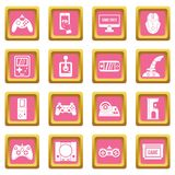 Video game icons pink Stock Photography