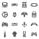 Video Game Icons Set. Video game black icons set with joystick console and other gadgets isolated vector illustration Stock Image