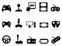 Video game and joystick icons set. Black video game and joystick icons set on white background Royalty Free Stock Photo