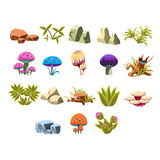Video Game Lanscaping Collection. Video Game Lanscaping Flat Vector Design Icons Set Of Isolated Items on White Background Stock Photography