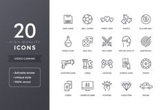 Video Game Line Icons. Gaming and computer games icon set with editable stroke Stock Photo