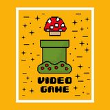 Video game mushroom entertaining element play. Vector illustration Stock Images