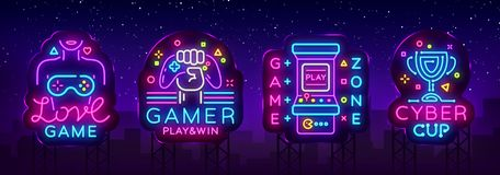 Video Game neon sign collection vector. Conceptual Logos, Love Game, Gamer logo, Game Zone, Cyber sport Emblem in Modern. Trend Design, Vector Template, Light vector illustration