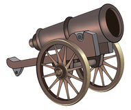 A video game object: cannon. Ancient gun on the big wheels Royalty Free Stock Photography