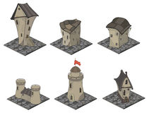 A video game objects: medieval building set Stock Photo