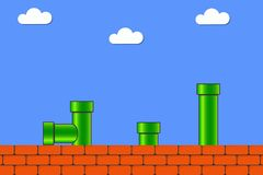 Video game in old style. Retro display background for game with bricks and pipe or tube. Vector. stock images