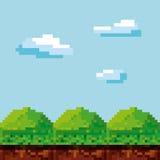 Video game pixel design. Pixel landscape. Video game interface design. Colorful design. vector illustration Stock Image