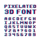 Video game pixelated 3d font. 8 bit pixel art old school latin alphabet with anaglyph distortion effect. Abc retro for game, alphabet pixel and numbe, 8-bit Stock Photography