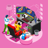 Video Game Screen Gaming Isometric People Vector Illustration Royalty Free Stock Image