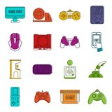 Video game set , outline style Royalty Free Stock Image