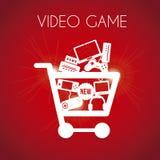 Video game shopping. Over red background vector illustration vector illustration