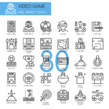 Video Game , thin line icons set Royalty Free Stock Photos