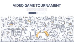 Video Game Tournament Doodle Concept Stock Photography