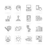 Video game vector line icons Royalty Free Stock Images