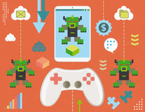 Video game virus in smartphone Stock Images