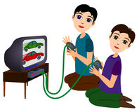 Video games. Illustration of two cute cartoon boys playing a video game Stock Image