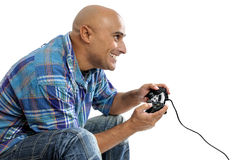 Video games. Man playing video games isolated in white Stock Image