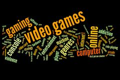Video Games. Concepts word cloud illustration. Word collage concept royalty free illustration