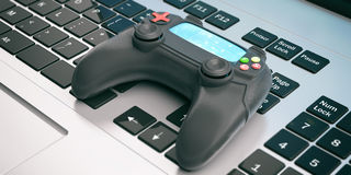Video games console controller on a computer. 3d illustration Stock Photo