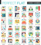 Video games, console game vector complex flat icon concept symbols for web infographic design. Video games, console game vector complex flat icon concept Royalty Free Stock Images