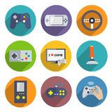Video Games Controller Icons Set. Video computer console games controller icons set of joystick keypad steering wheel isolated vector illustration Stock Image