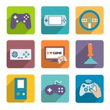 Video Games Controller Icons Set. Video computer console games controller icons set of joystick keypad steering wheel isolated vector illustration Royalty Free Stock Image