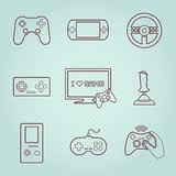Video Games Controller Icons Set. Video computer console games controller icons set of joystick keypad steering wheel isolated vector illustration Royalty Free Stock Photo
