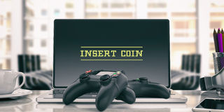 Video games controller - insert a coin on the computer. 3d illustration Stock Photos