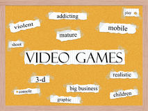 Video Games Corkboard Word Concept Stock Photography