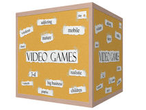 Video Games 3D cube Corkboard Word Concept Royalty Free Stock Image