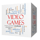 Video Games 3D cube Word Cloud Concept. With great terms such as addictive, violent, children, play, rating, fun and more Stock Photography