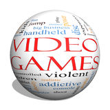 Video Games 3d sphere Word Cloud Concept. With great terms such as addictive, violent, children, play, rating, fun and more Stock Image