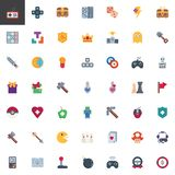 Video games and gaming elements collection. Flat icons set, Colorful symbols pack contains - Gamepad controller, Game Controller Joystick, Retro console, Mouse royalty free illustration