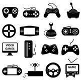 Video games icons set. In black royalty free illustration