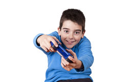 Video games. Isolated child playing video games Stock Image