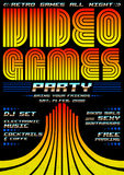 Video Games party - poster event template Stock Photo