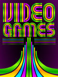 Video Games - poster - card - vector lettering Stock Images