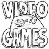 Video games sketch. Doodle style video games sports illustration. Includes text and computer game controller Royalty Free Stock Photography