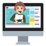 Video Games Teenager Blogger. Young teenager gamer boy video games blogger stock illustration