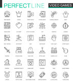 Video games thin line web icons set. Mobile game app interface Outline stroke icons design. Video games thin line web icons set. Mobile game app interface Royalty Free Stock Photography
