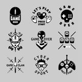 Video games vintage vector emblem set. Retro style gaming signs. T-shirts prints for gamers. Black and white tattoo. Retro style gaming signs collection. Video royalty free illustration