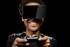 Video Games with VR Headset and Controller Royalty Free Stock Photography