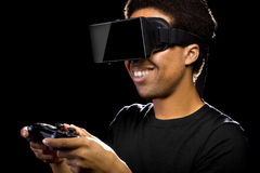 Video Games with VR Headset and Controller Stock Photo