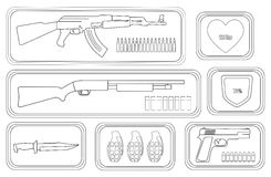 Video games weapon set. Contour. Army game resource set. Military soldier inventory. Assault rifle, health bar, shotgun, shield bar, combat knife, grenade Stock Photography