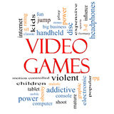 Video Games Word Cloud Concept. With great terms such as addictive, violent, children, play, rating, fun and more Royalty Free Stock Images