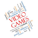 Video Games Word Cloud Concept Angled. With great terms such as addictive, violent, children, play, rating, fun and more Royalty Free Stock Images