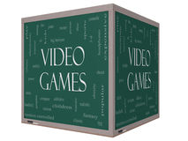 Video Games Word Cloud Concept on a 3D cube Blackboard. With great terms such as addictive, violent, children, play, rating, fun and more Royalty Free Stock Image