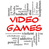 Video Games Word Cloud Concept in Red Caps. With great terms such as addictive, violent, children, play, rating, fun and more Stock Photography